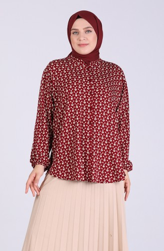 Claret red Overhemdblouse 1060-02
