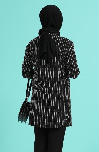 Kolyeli Bluz Ceket İkili Takım 1424C-01 Siyah Beyaz 1424C-01