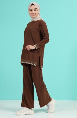 Ribanalı Tunik Pantolon İkili Takım 9029-01 Kahverengi