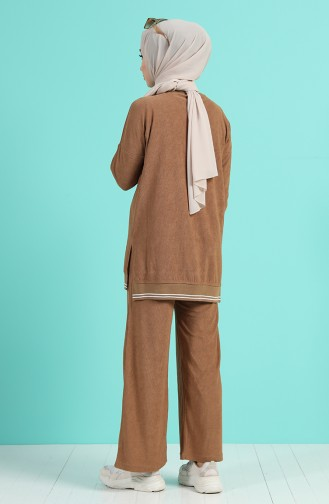 Ribbed Tunic Trousers Double Suit 9029-03 Milk Coffee 9029-03