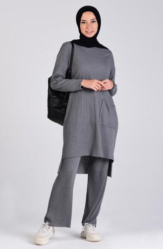 Cepli Tunik Pantolon İkili Takım 8146-05 Füme