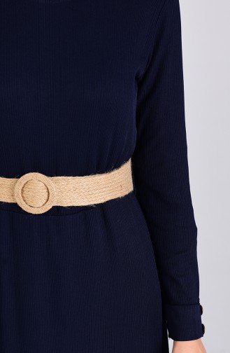 Kemerli Elbise 6008-01 Lacivert