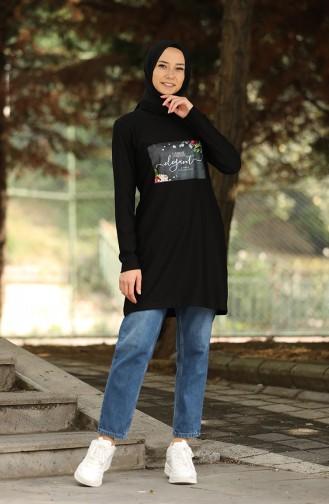 Baskılı Tunik 9671-04 Siyah