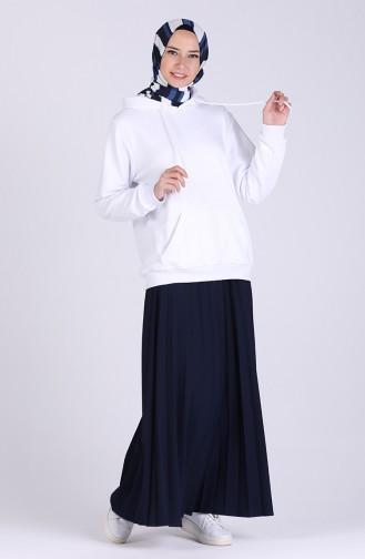 Kapüşonlu Sweatshirt 3001-02 Beyaz