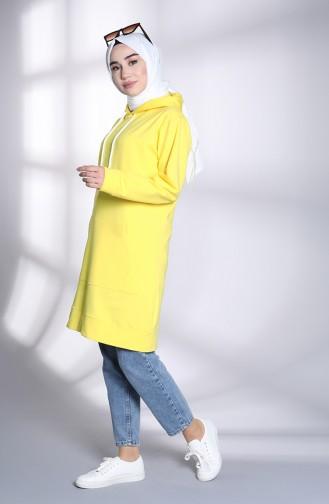 Kapüşonlu Sweatshirt 20045-03 Limon Sarısı