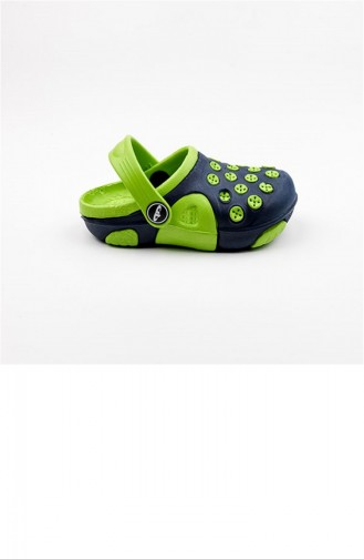 Navy Blue Kid s Slippers & Sandals 1781.LACİVERT-F.YESİL