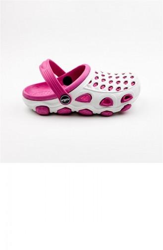 White Kid s Slippers & Sandals 1783.BEYAZ - FUŞYA