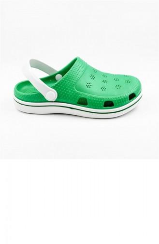 Green Summer Slippers 2648.YEŞİL - BEYAZ