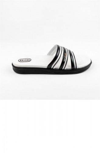 White Summer Slippers 2158.SIYAH-BEYAZ