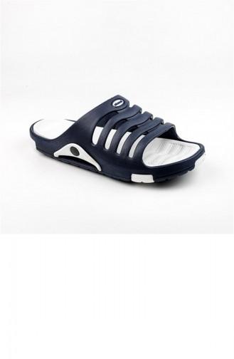 Navy Blue Summer Slippers 2647.LACİVERT - BEYAZ