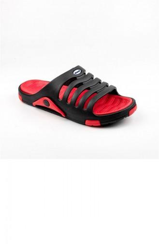 Red Summer Slippers 2647.SİYAH - KIRMIZI