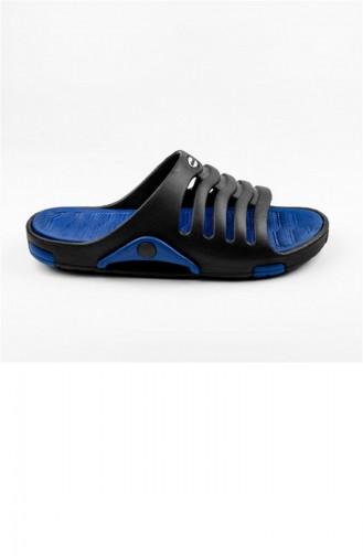 Blue Summer Slippers 2647.SIYAH-MAVI