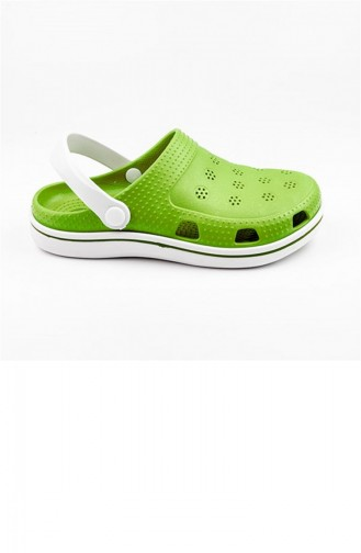 Pistachio Green Summer slippers 2649.FISTIK YESIL-BEYAZ