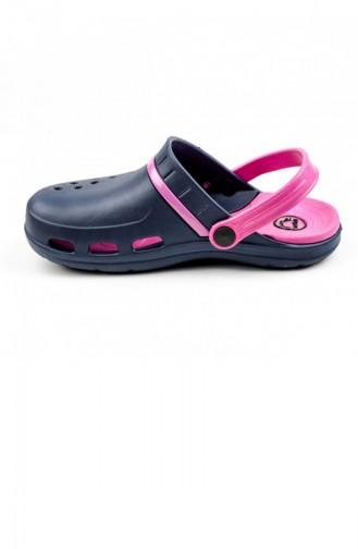 Navy Blue Summer Slippers 2724.LACIVERT-FUSYA