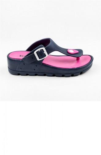 Navy Blue Summer slippers 2687.LACİVERT - FUŞYA