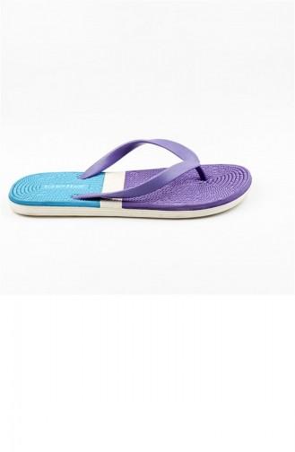 Beige Summer slippers 2788.MAVİ - BEJ - MOR