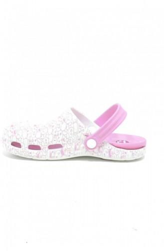White Summer slippers 3517.MM PEMBE-BEYAZ