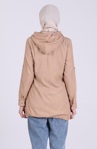 Kürklü Astarlı Mont 9054-02 Camel