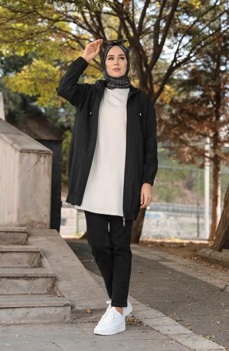 معطف واق من المطر أسود 1470-04