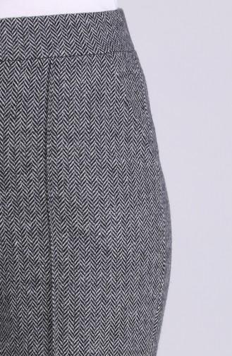 Balık Sırtı Desenli Bol Paça Pantolon 0054-02 Gri