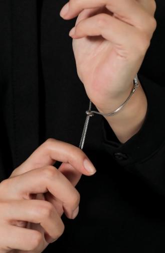 Baklava Dilimi Figürlü Nazarlı Bayan Bileklik ADAS003-01 Gümüş Gri 003-01