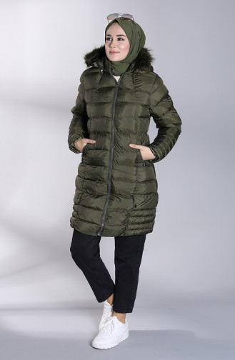 Hooded Quilted Coat 13051-02 Khaki 13051-02