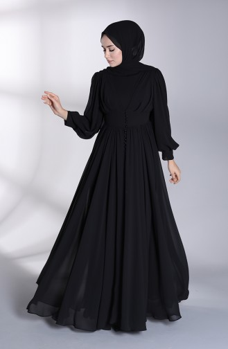 Buttoned Front Evening Dress 4830-04 Black 4830-04