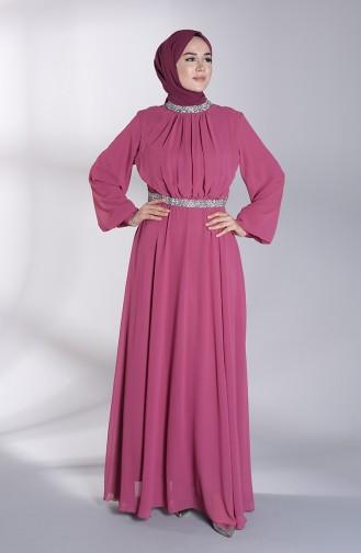 Belted Chiffon Evening Dress 5339-04 Dried Rose 5339-04