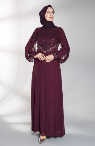 Sequin Detailed Evening Dress 52764-01 Damson 52764-01