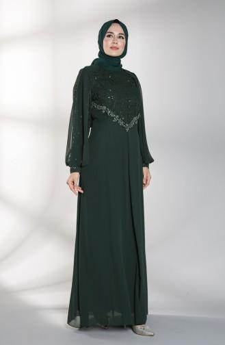 Payet Detaylı Abiye Elbise 52764-04 Yeşil