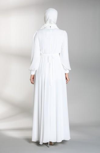 Beli Lastikli Abiye Elbise 4826-01 Beyaz
