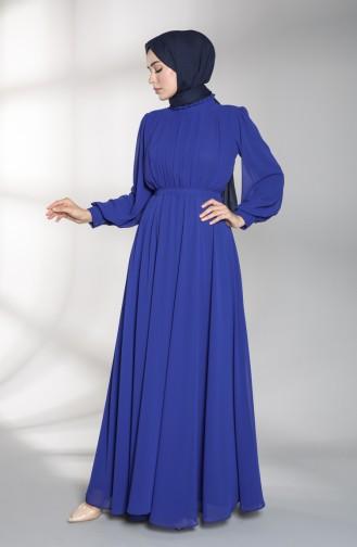 Saks-Blau Hijab-Abendkleider 4826-02