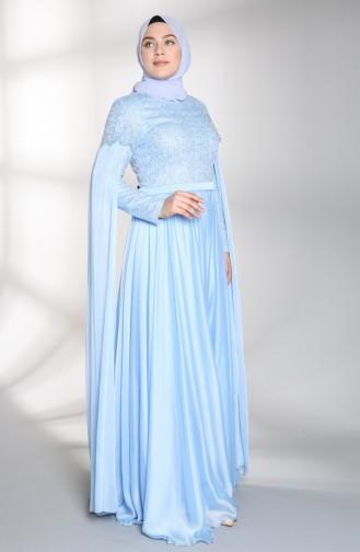 Habillé Hijab Bleu 8004-01