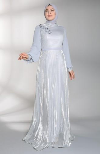 Plus Size Jacquard Evening Dress 8007-01 Gray 8007-01