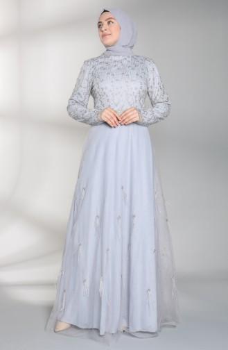 Grau Hijab-Abendkleider 8015-02