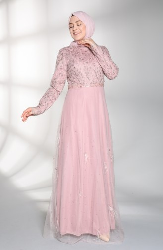 Plus Size Feathered Evening Dress 8015-03 Dry Rose 8015-03