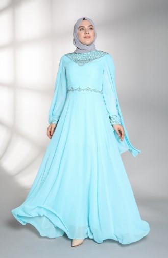 Habillé Hijab Bleu menthe 1555-02
