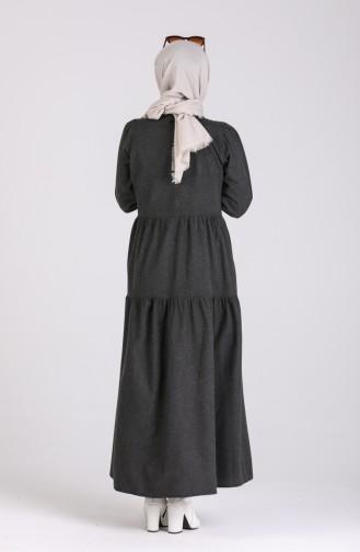 Büzgülü Elbise 1419-04 Siyah