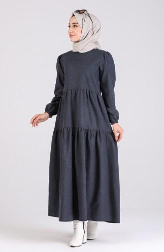 Büzgülü Elbise 1419-05 Lacivert