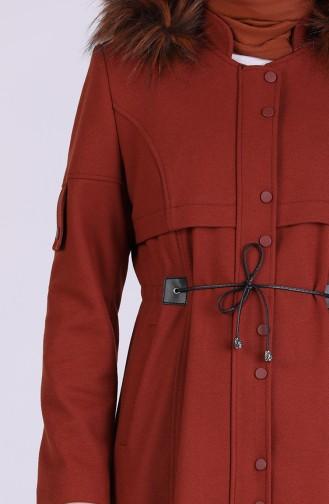 معطف طويل قرميدي 1002-04