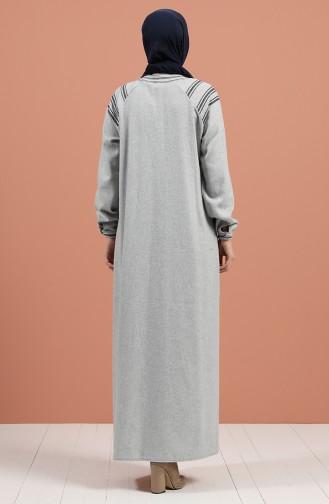 Hellgrau Hijap Kleider 8131-01