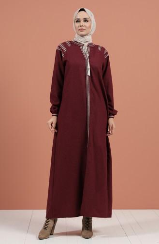 Claret Red Hijab Dress 8131-03