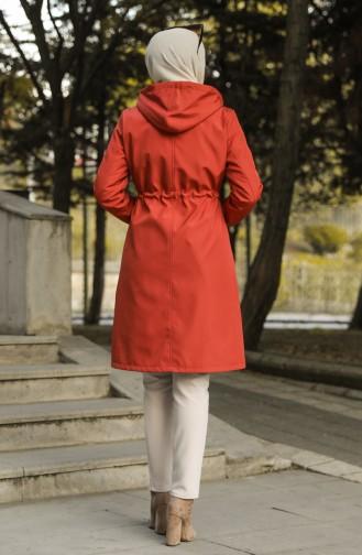 Manteau Couleur brique 0126-01