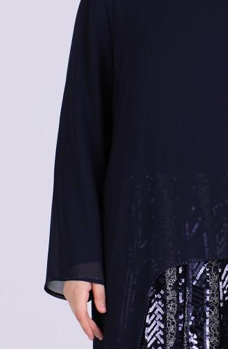 Navy Blue Islamic Clothing Evening Dress 6334-01
