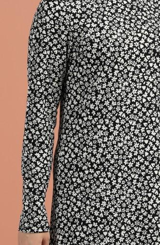 Desenli Elbise 8884-01 Siyah Beyaz