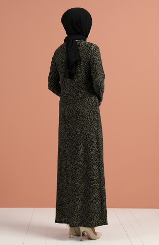 Khaki Hijab Dress 8884-02
