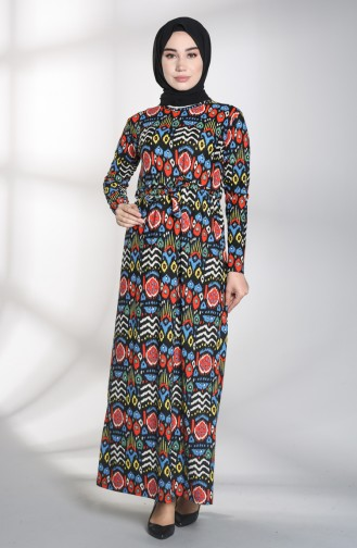 Saxon blue Islamic Clothing Evening Dress 1018-01