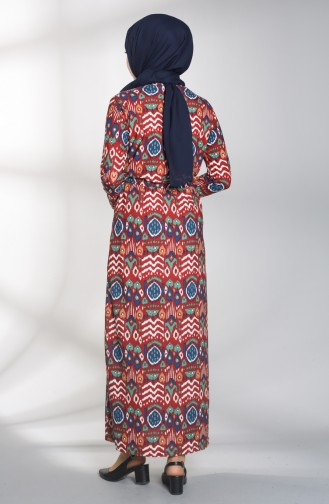 Desenli Kuşaklı Elbise 1018-02 Kiremit