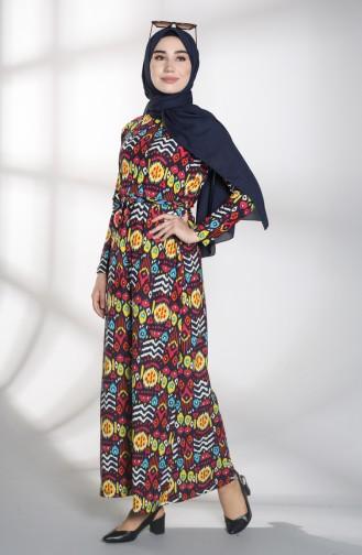Navy Blue Islamic Clothing Evening Dress 1018-03