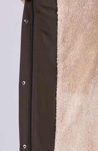 Kürklü Astarlı Uzun Kaban 4054-02 Koyu Yeşil